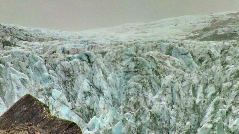 closeup of fox glacier, south island, new zealand