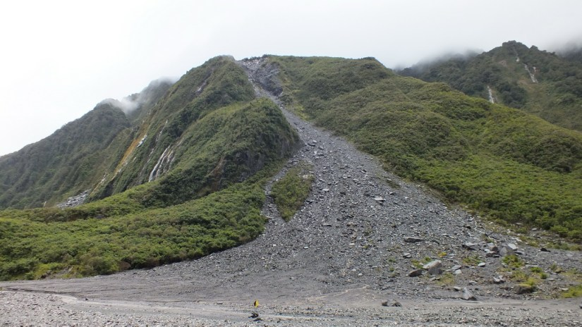 a landslide in fox glacier valley, south island, new zealand