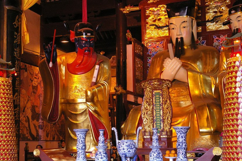 Three of the gods inside the City God Temple of Shanghai