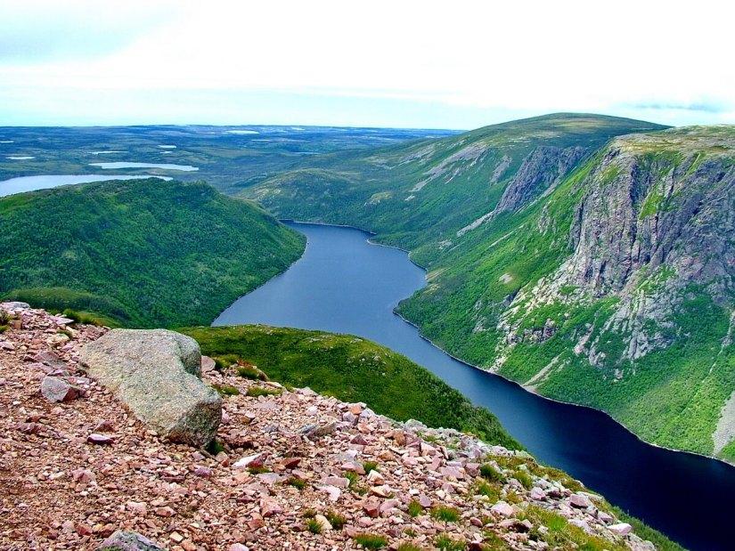 ten mile pond, eastern arm pond and half moon pond, gros morne mountain, newfoundland, canada