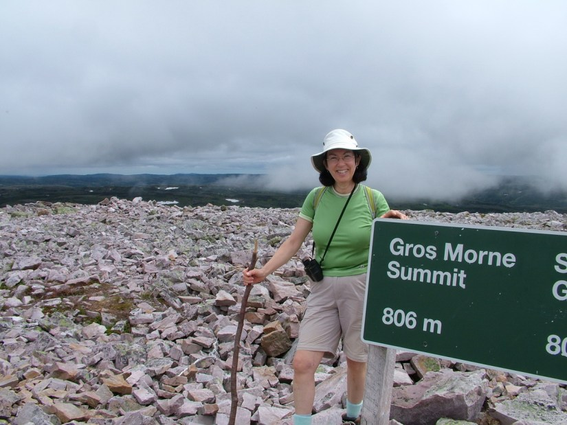 jean at the summit of gros morne mountain, newfoundland, canada
