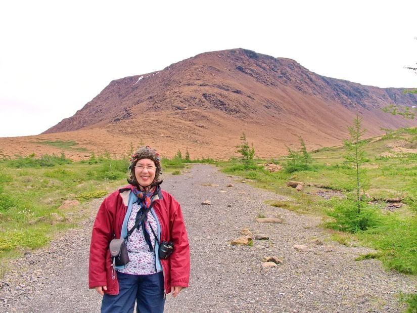 jean on the tablelands trail, newfoundland, canada
