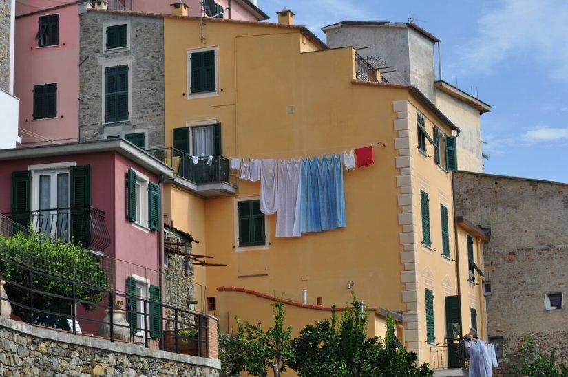 colourful house and laundry, corniglia, cinque terre, italy
