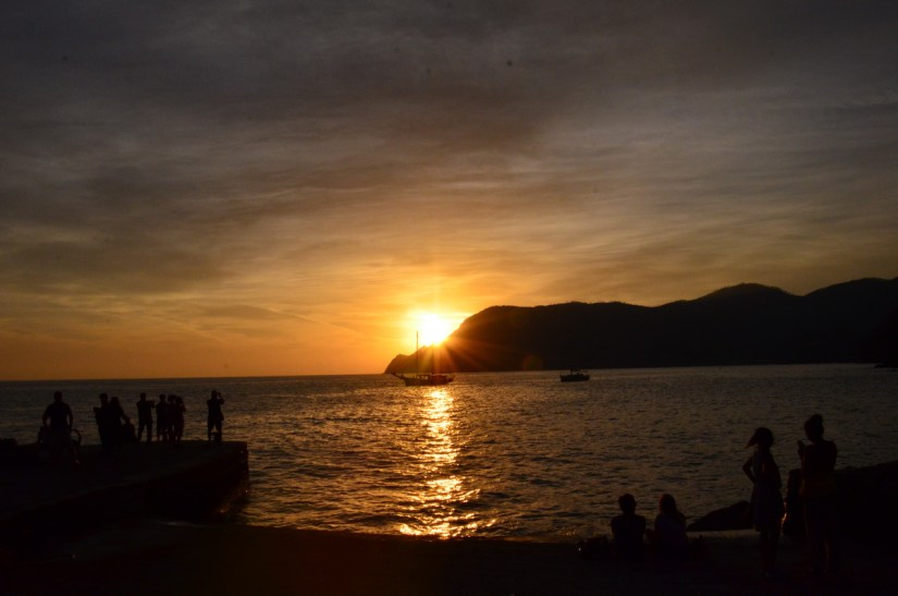 sunset, vernazza, cinque terre, italy