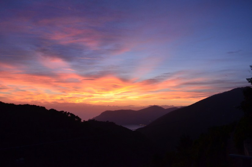 sunset over cinque terre, italy