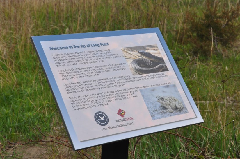 an information sign, tip of long point, lake erie, ontario