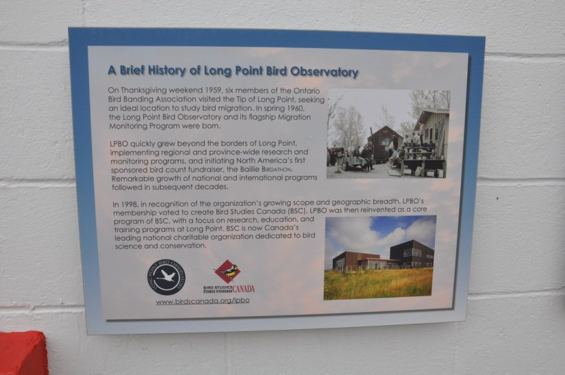 an information sign, long point bird observatory, the tip of long point, lake erie, ontario