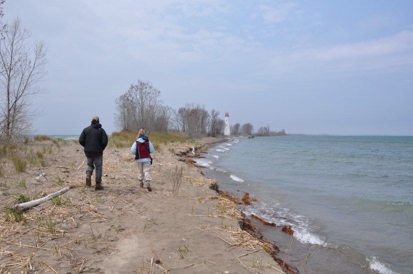 jean and garrett at the tip, long point, lake erie, ontario