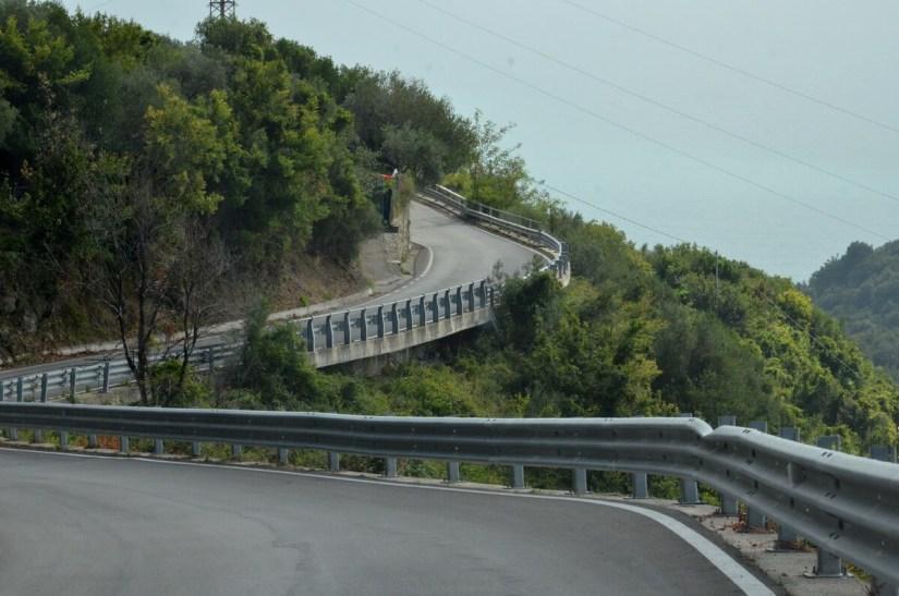 sinuous highway, cinque terre, italy