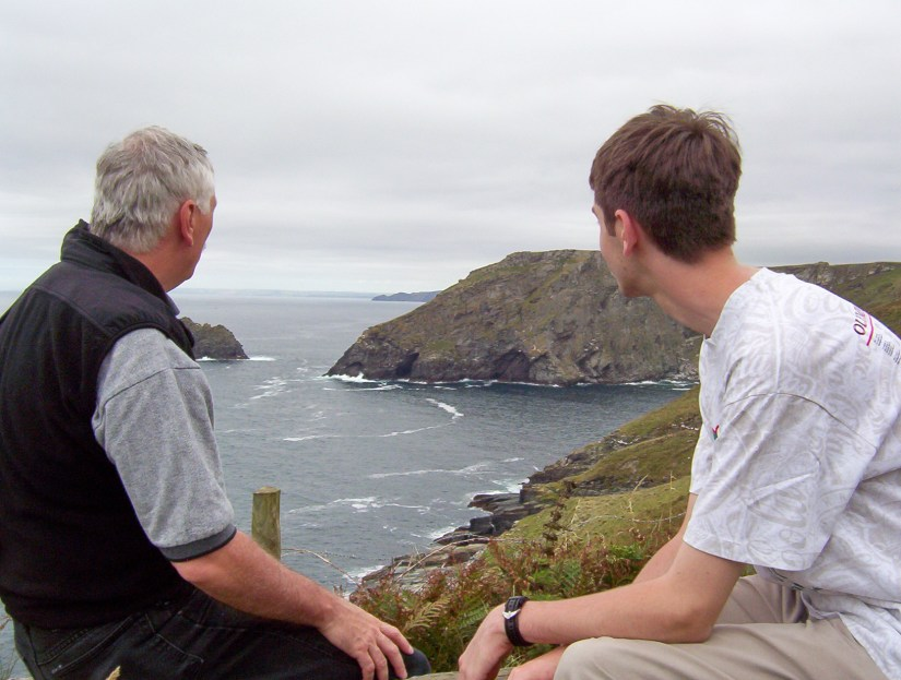 bob and his son, coast of cornwall, england