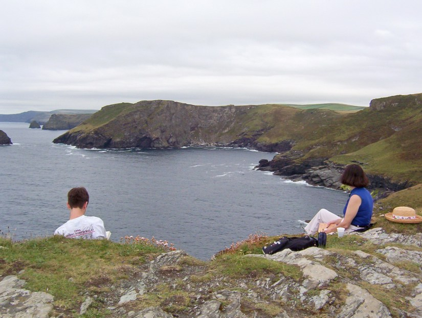 jean and her son, coast of cornwall, england