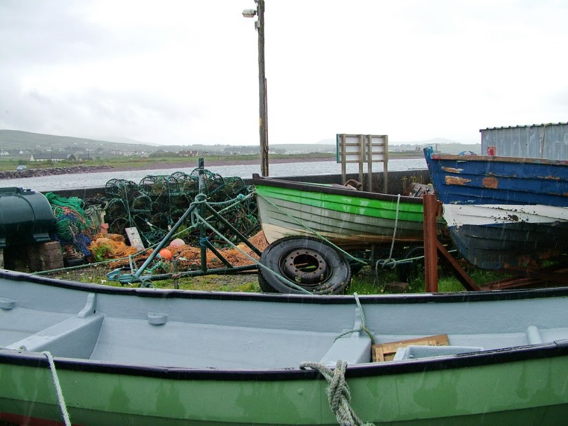 fishing boats and lobster traps, ballinskelligs, ireland