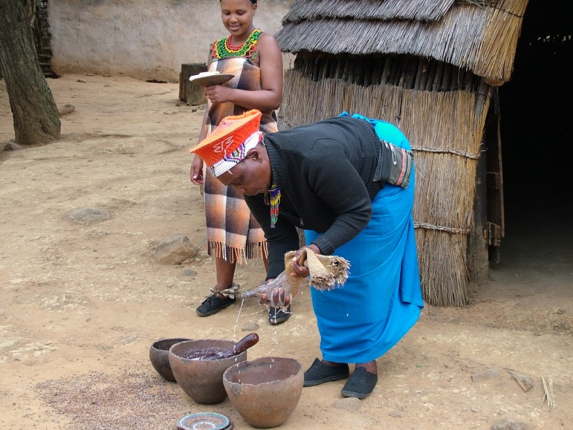 a zulu woman straining beer, shakaland, kwazulu-natal, south africa