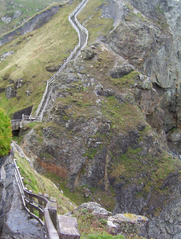 steep stairs to tintagel castle, cornwall, england