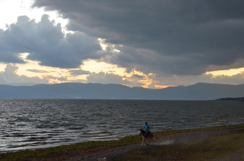 horseback rider at sunset, lake chapala, mexico