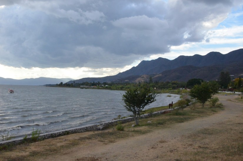 storm clouds gather over lake chapala, ajijic, mexico