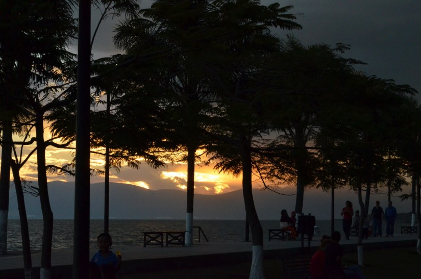 sunset over lake chapala, mexico