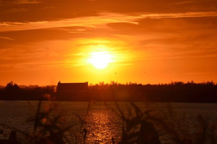 red sunset, Parco Regionale Veneto del Delta del Po (The Regional Park of the Po River Delta), italy