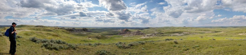 bob overlooking the badlands, valley of 1000 devils route, grasslands national park east block, saskatchewan