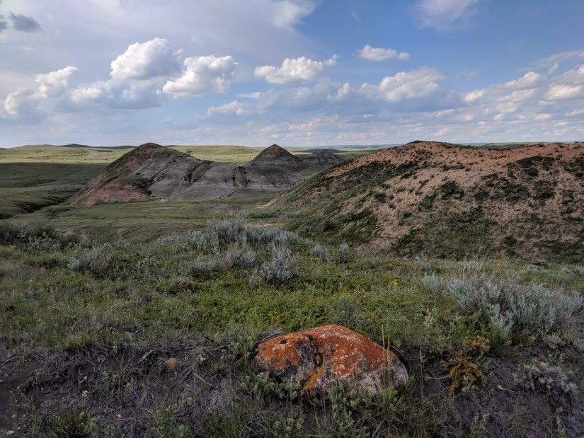 red rock and soil, badlands, valley of 1000 devils route, grasslands national park east block, saskatchewan