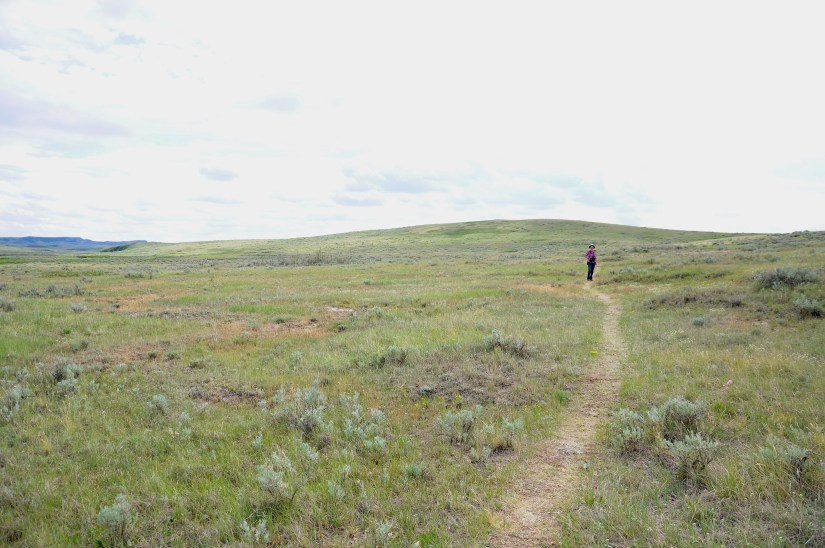 jean hiking the valley of 1000 devils route, grasslands national park east block, saskatchewan