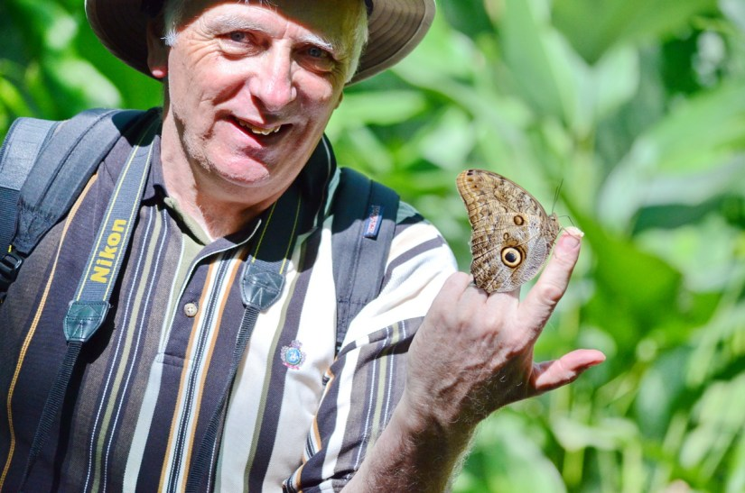 bob with an owl butterfly, ecocentro danaus, la fortuna, costa rica