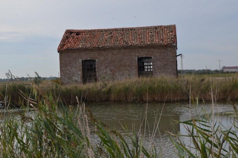 an abandoned stone house, parco regionale veneto del delta del po, po river delta, italy