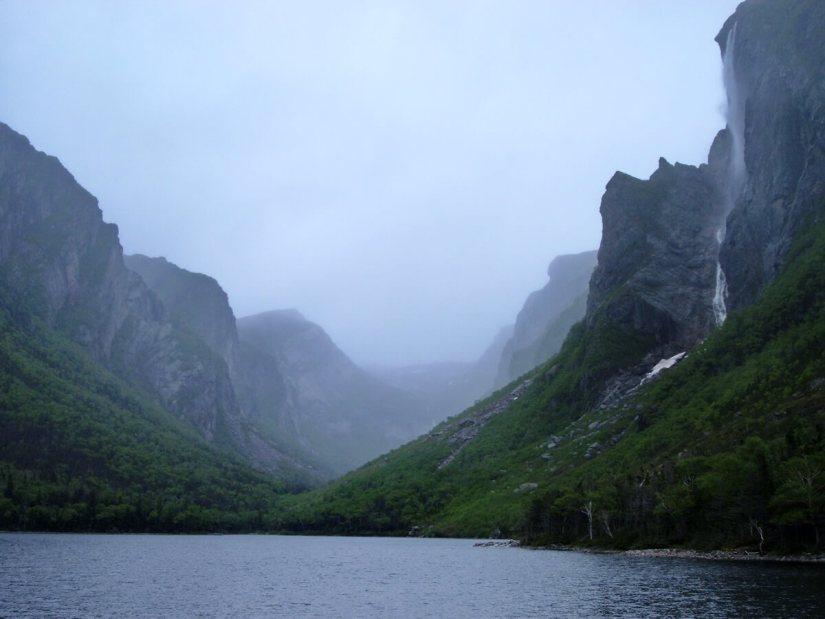 pissing mare falls, western brook pond, gros morne national park, newfoundland, canada