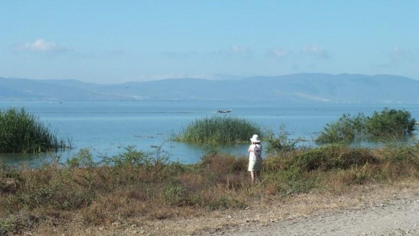 jean along the shore, lake chapala, mexico