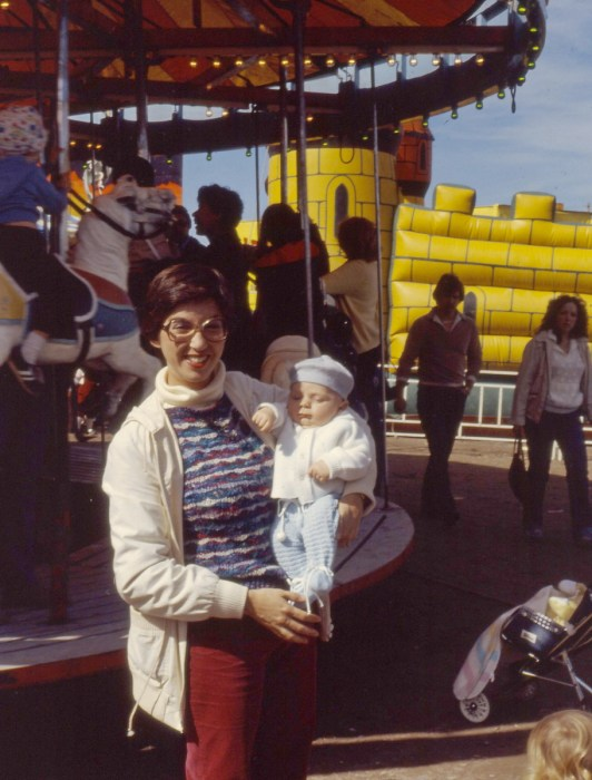 jean and young son at markham fair, markham, ontario, 1982