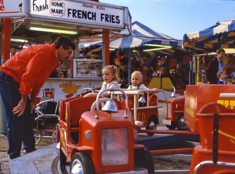 bob with his children, markham fair, 1983