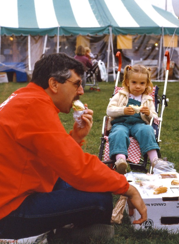 bob and his daughter having lunch, markham fair, 1983