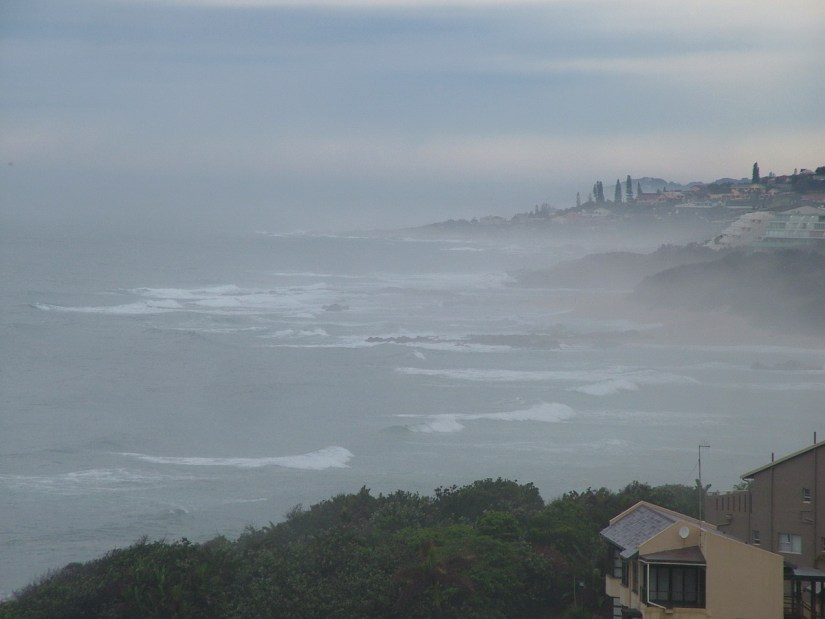 fog over the indian ocean, margate, south africa