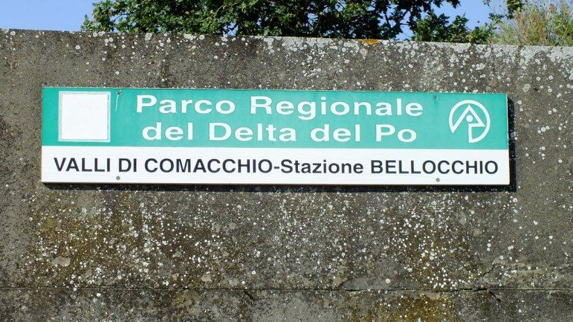 a sign for stazione bellocchio, Parco Veneto del Delta del Po National Park, italy