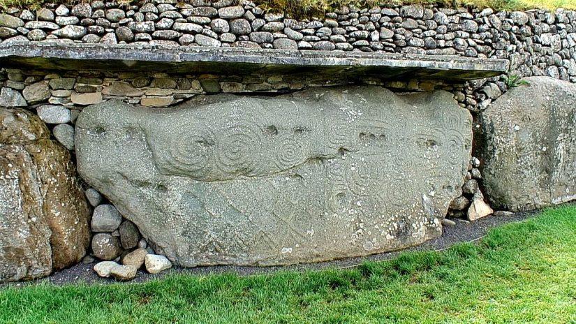 kerbstone, newgrange, county meath, ireland