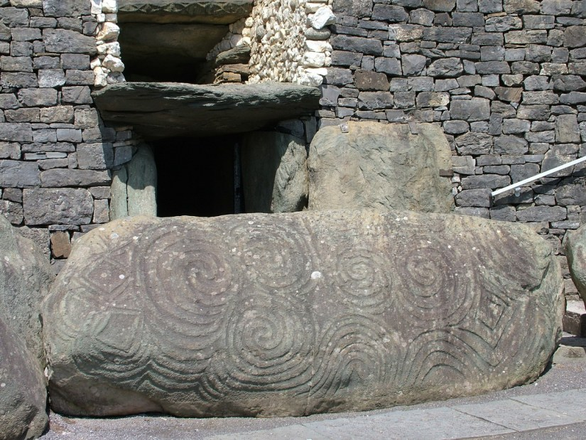 the roof box and entrance kerbstone, newgrange, county meath, ireland