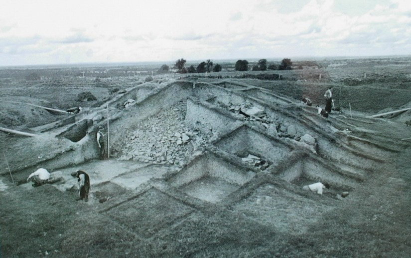 reconstruction work on the mound of the hostages, the hill of tara, county meath, ireland