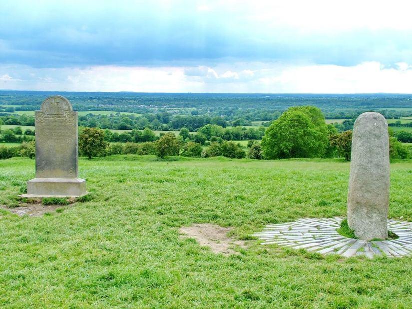 gravestone beside the stone of destiny, the hill of tara, county meath, ireland