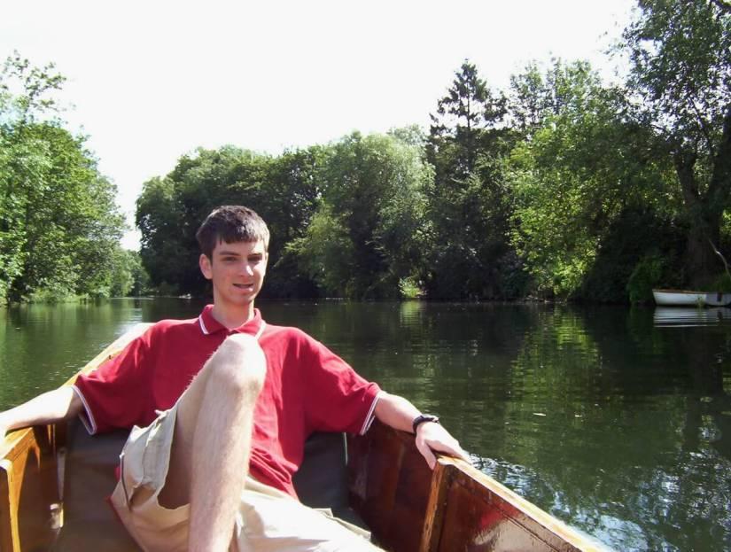 a punt, avon river, bath, england
