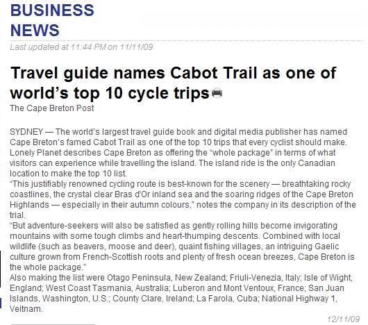 Cabot Trail Top Ten