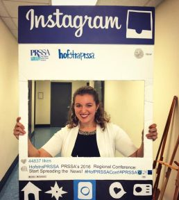 Pietryka posing with Instagram prop at PRSSA's Regional Conference at Hoftsta University- March 2016