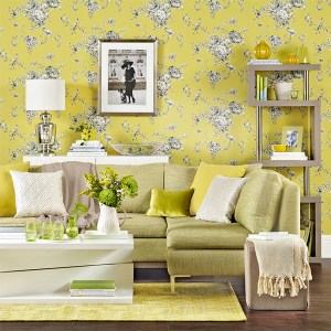 living yellow designs flower grey modern hall wall bright 3d floral bookshelf space roques neil rowland credit decor colours stylish