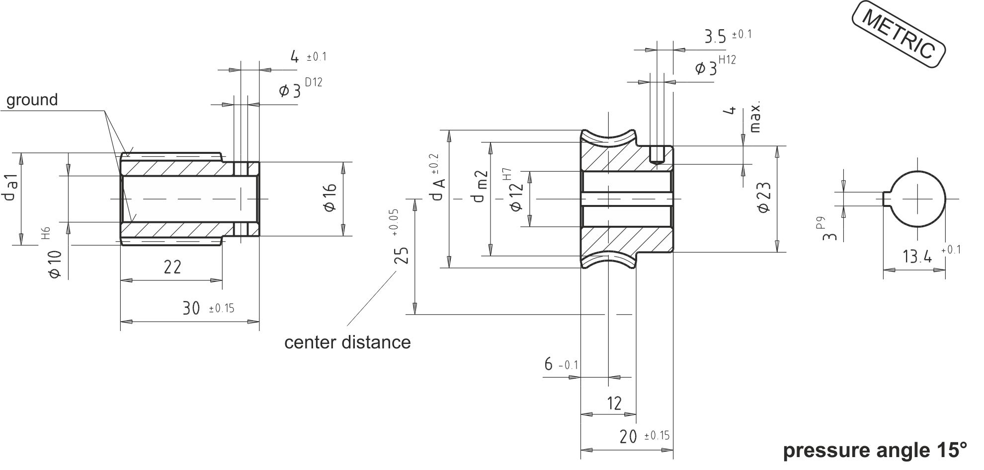 hight resolution of dimensional drawing worm gear set a25