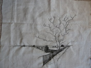 sketching in the tree, major branches only, trying to avoid single perfect outlines.