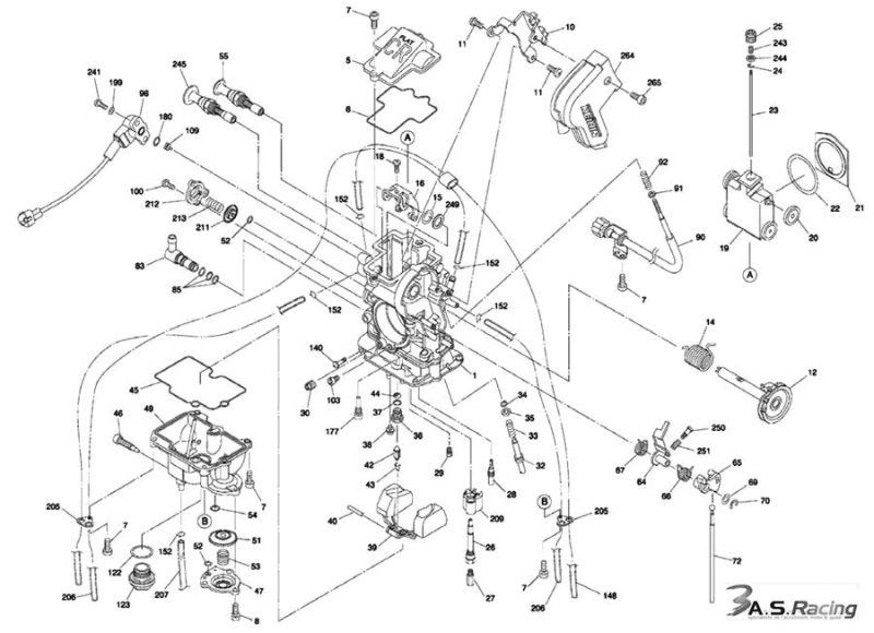 Carburateur FCR KEIHIN Ø39mm pour HONDA, KAWASAKI, KTM