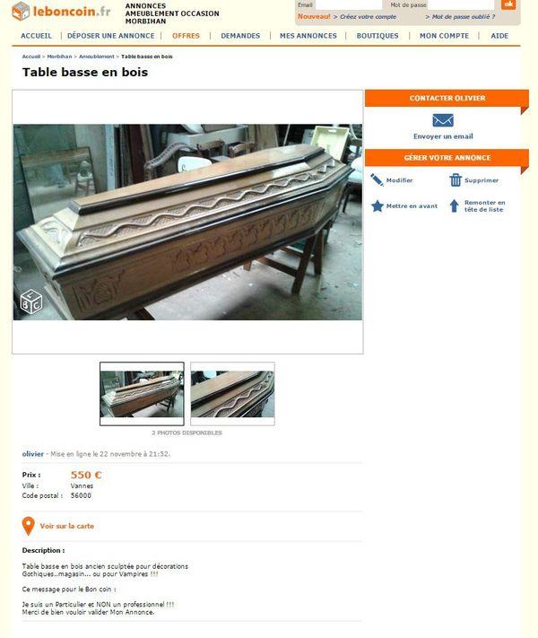 vend un cercueil comme table basse