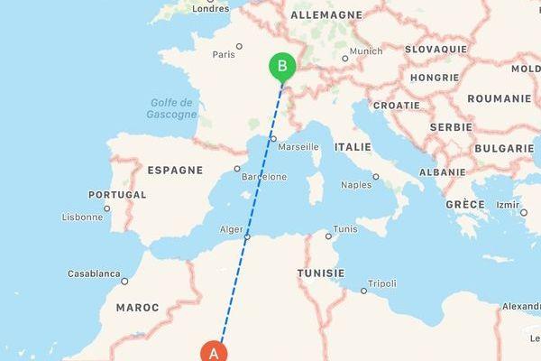 2273 km séparent à vol d'oiseau le sud algérien où la France a fait ses essais nucléaires dans les années 60, et Chapelle des Bois dans le Doubs où ont été prélevées les poussières sahariennes.