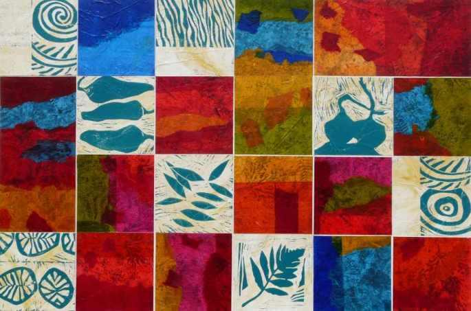 Vagabonde - 120 x 80 - Acrylique, gravure sur bois, peinture à l'encre sur papier soie paille