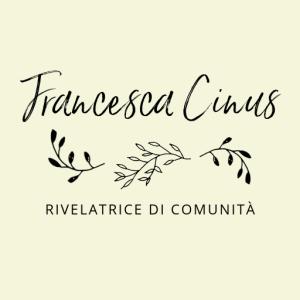 Foglie d'ulivo caratterizzano il logo di Francesca Cinus - Rivelatrice di Comunità