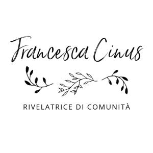 Il logo di Francesca Cinus - Rivelatrice di Comunità è composto da una scritta a mano e dei ramoscelli d'ulivo, a simboleggiare la vicinanza con territori e piccole comunità